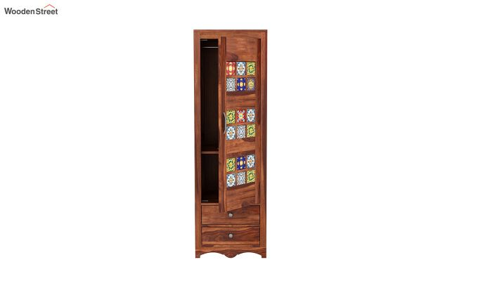 Boho 1 Door Multi Utility Wardrobe (Honey Finish)-5