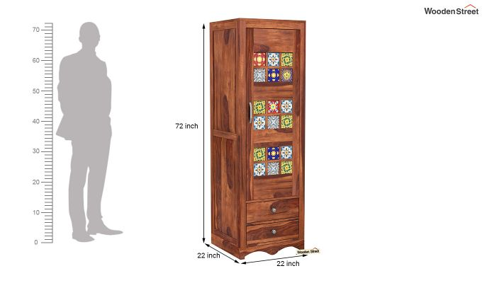 Boho 1 Door Multi Utility Wardrobe (Honey Finish)-6