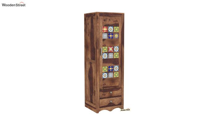 Boho 1 Door Multi Utility Wardrobe (Teak Finish)-2