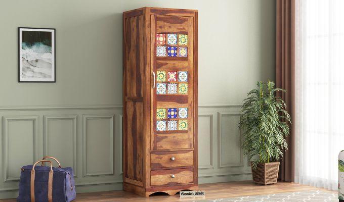 Boho 1 Door Multi Utility Wardrobe (Teak Finish)-1