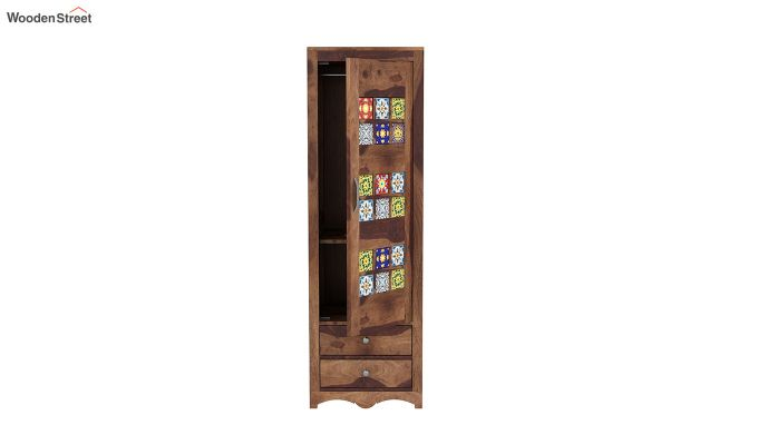 Boho 1 Door Multi Utility Wardrobe (Teak Finish)-5