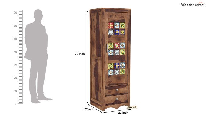 Boho 1 Door Multi Utility Wardrobe (Teak Finish)-6