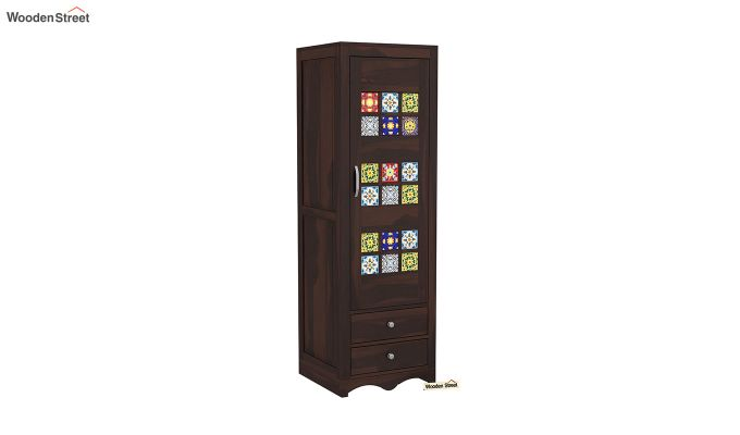 Boho 1 Door Multi Utility Wardrobe (Walnut Finish)-2