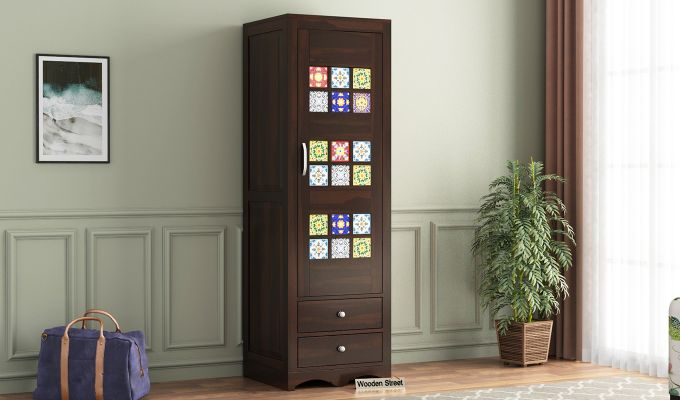 Boho 1 Door Multi Utility Wardrobe (Walnut Finish)-1