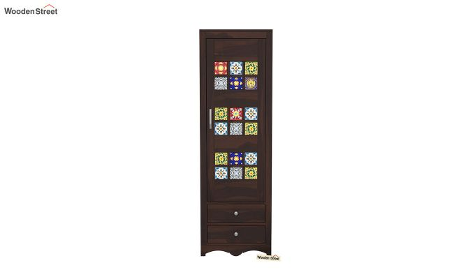 Boho 1 Door Multi Utility Wardrobe (Walnut Finish)-3