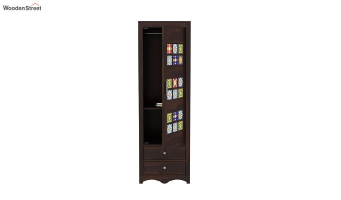 Boho 1 Door Multi Utility Wardrobe (Walnut Finish)-5