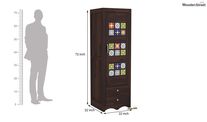 Boho 1 Door Multi Utility Wardrobe (Walnut Finish)-6
