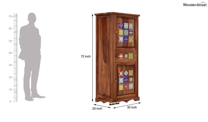 Boho Multi Utility Wardrobe (Teak Finish)-5