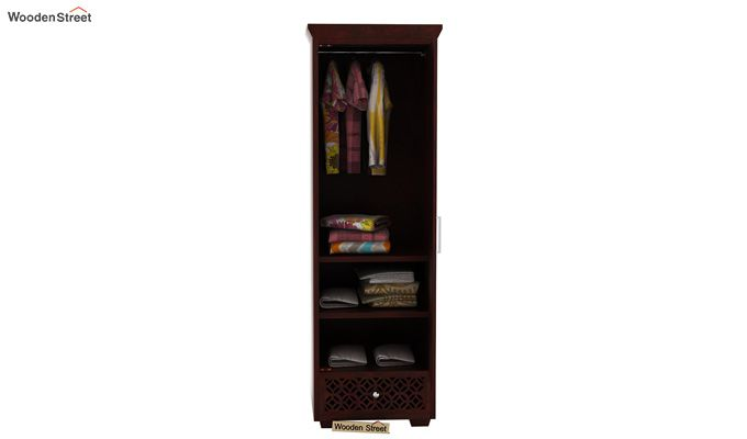 Cambrey 1 Door Multi Utility Wardrobe (Mahogany Finish)-2