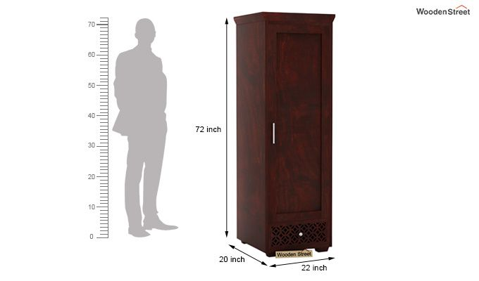 Cambrey 1 Door Multi Utility Wardrobe (Mahogany Finish)-4