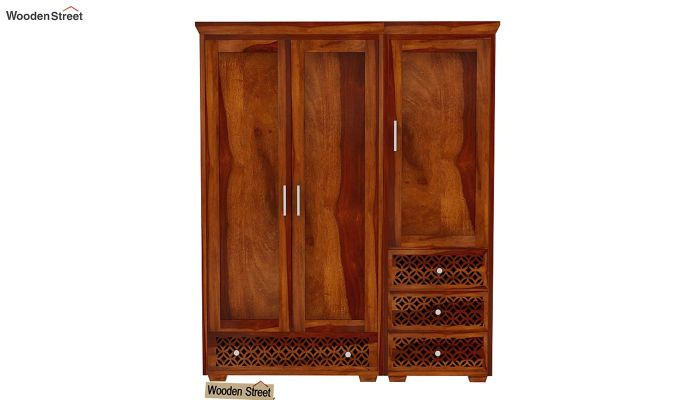 Cambrey 3 Door Multi Utility Wardrobe (Honey Finish)-3