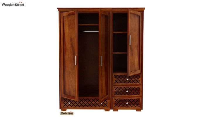 Cambrey 3 Door Multi Utility Wardrobe (Honey Finish)-7