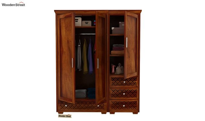 Cambrey 3 Door Multi Utility Wardrobe (Honey Finish)-9