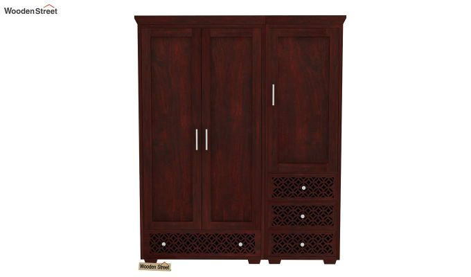 Cambrey 3 Door Multi Utility Wardrobe (Mahogany Finish)-2