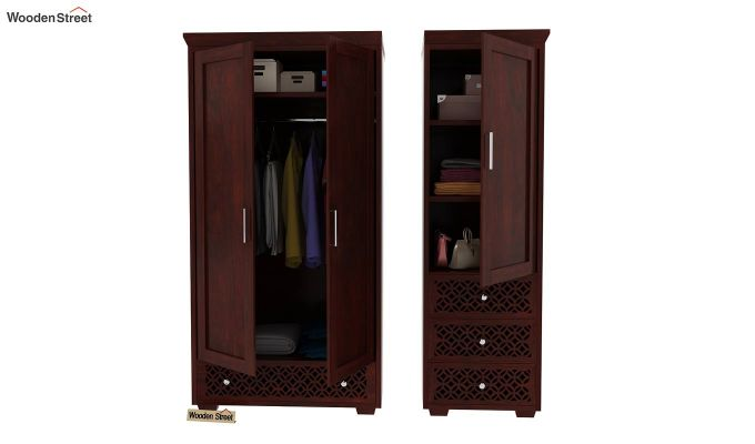 Cambrey 3 Door Multi Utility Wardrobe (Mahogany Finish)-5
