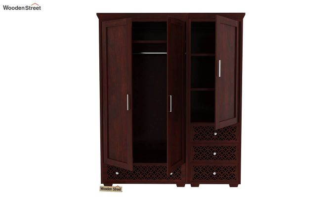 Cambrey 3 Door Multi Utility Wardrobe (Mahogany Finish)-6