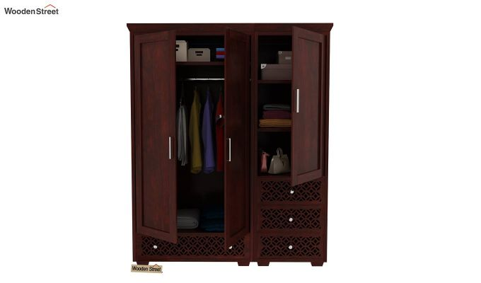 Cambrey 3 Door Multi Utility Wardrobe (Mahogany Finish)-8