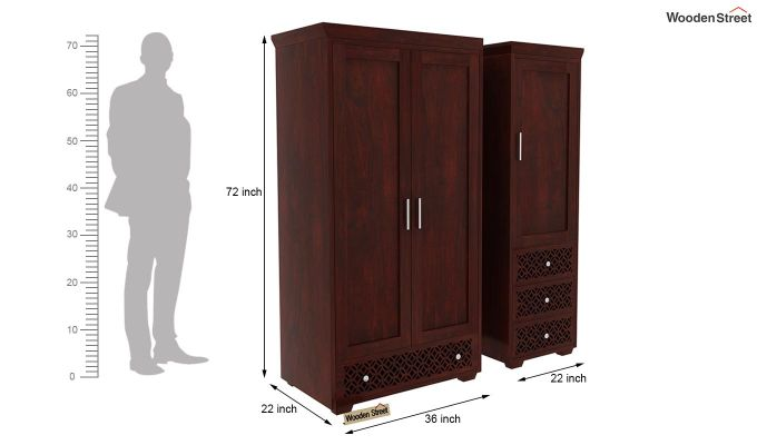 Cambrey 3 Door Multi Utility Wardrobe (Mahogany Finish)-9