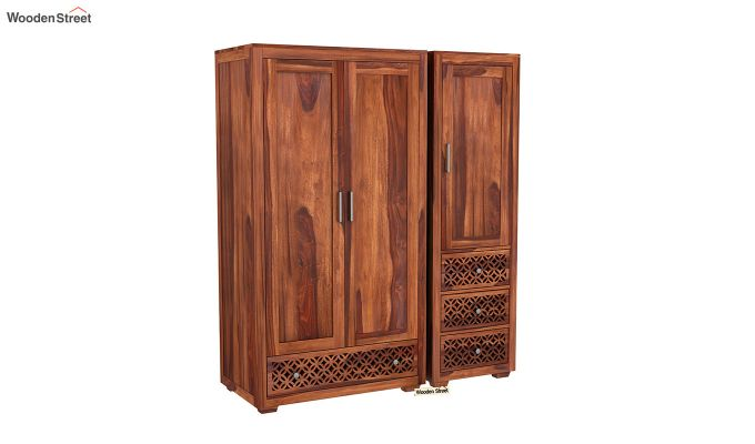 Cambrey 3 Door Multi Utility Wardrobe (Honey Finish)-2