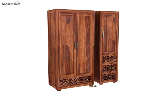 Cambrey 3 Door Multi Utility Wardrobe (Honey Finish)-4