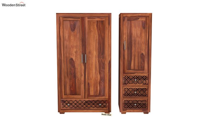Cambrey 3 Door Multi Utility Wardrobe (Honey Finish)-5
