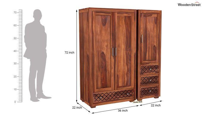 Cambrey 3 Door Multi Utility Wardrobe (Honey Finish)-8