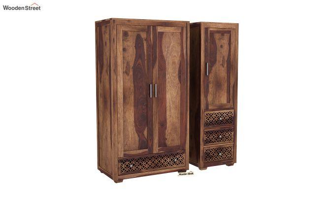 Cambrey 3 Door Multi Utility Wardrobe (Teak Finish)-4