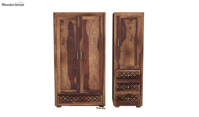 Cambrey 3 Door Multi Utility Wardrobe (Teak Finish)-5