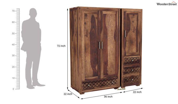 Cambrey 3 Door Multi Utility Wardrobe (Teak Finish)-8