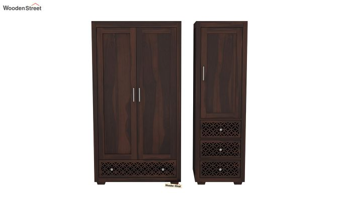 Cambrey 3 Door Multi Utility Wardrobe (Walnut Finish)-5