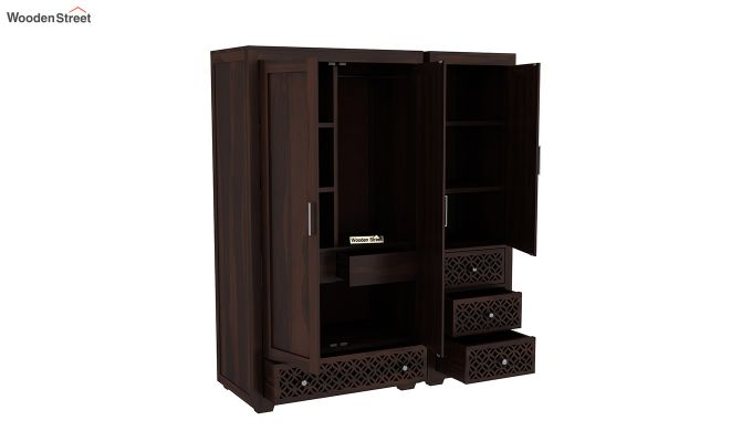 Cambrey 3 Door Multi Utility Wardrobe (Walnut Finish)-6