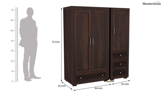 Cambrey 3 Door Multi Utility Wardrobe (Walnut Finish)-8