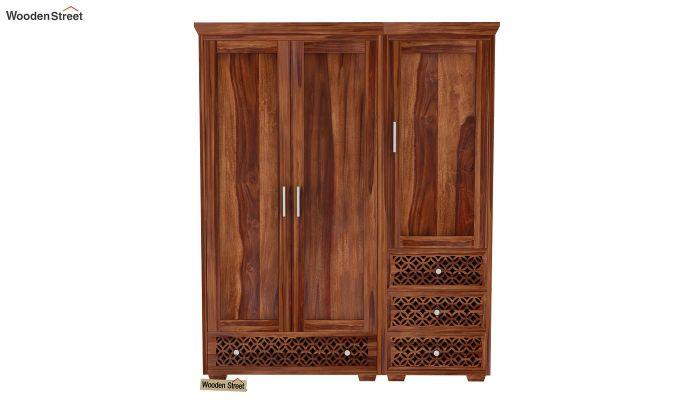 Cambrey 3 Door Multi Utility Wardrobe (Teak Finish)-2