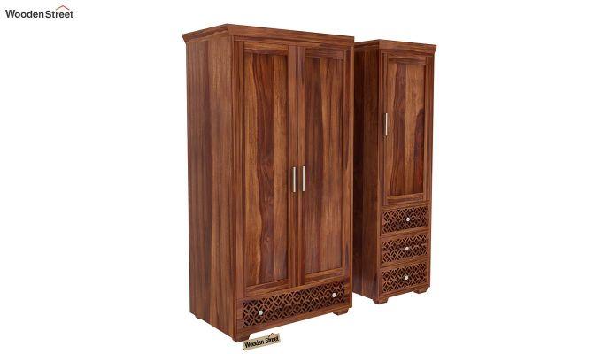 Cambrey 3 Door Multi Utility Wardrobe (Teak Finish)-3