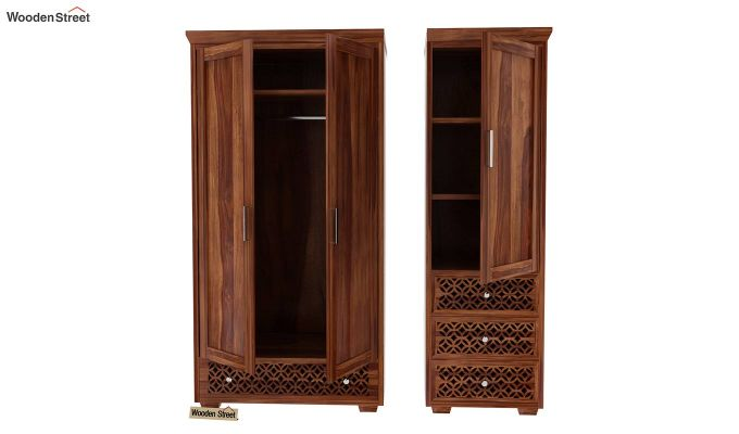 Cambrey 3 Door Multi Utility Wardrobe (Teak Finish)-7