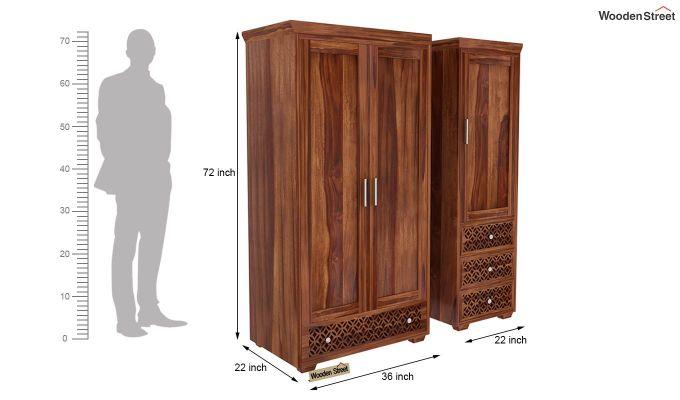 Cambrey 3 Door Multi Utility Wardrobe (Teak Finish)-9