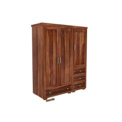 Cambrey 3 Door Multi Utility Wardrobe (Teak Finish)