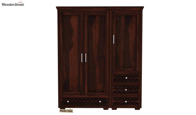 Cambrey 3 Door Multi Utility Wardrobe (Walnut Finish)-2