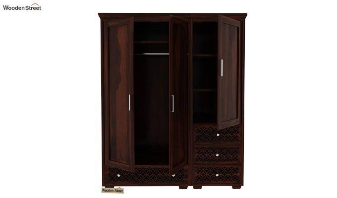 Cambrey 3 Door Multi Utility Wardrobe (Walnut Finish)-6