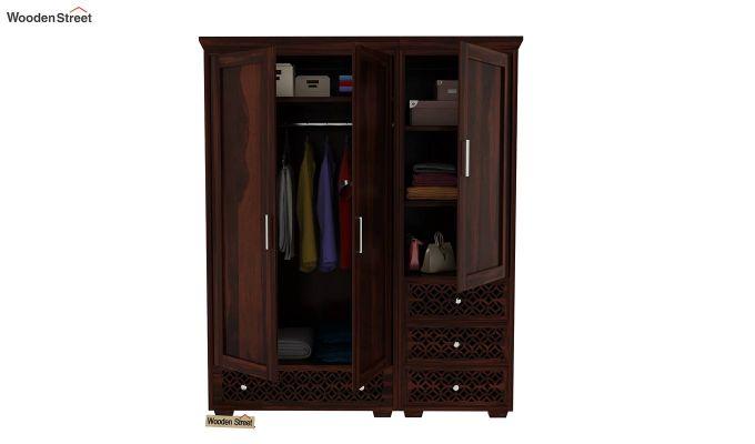 Cambrey 3 Door Multi Utility Wardrobe (Walnut Finish)-8
