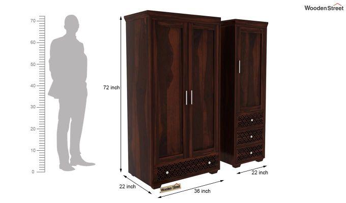 Cambrey 3 Door Multi Utility Wardrobe (Walnut Finish)-9