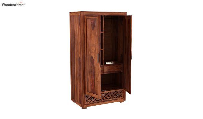 Cambrey 2 Door Multi Utility Wardrobe (Honey Finish)-4