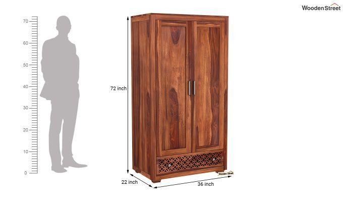 Cambrey 2 Door Multi Utility Wardrobe (Honey Finish)-6