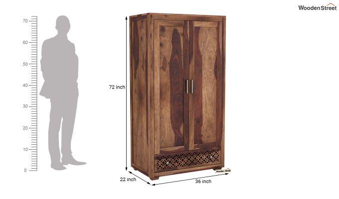Cambrey 2 Door Multi Utility Wardrobe (Teak Finish)-6