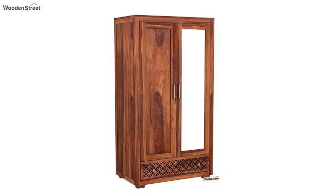 Cambrey 2 Door Wardrobe with Mirror (Honey Finish)-2