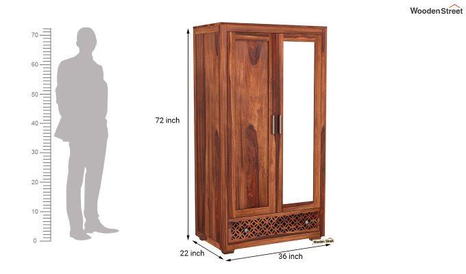 Cambrey 2 Door Wardrobe with Mirror (Honey Finish)-6