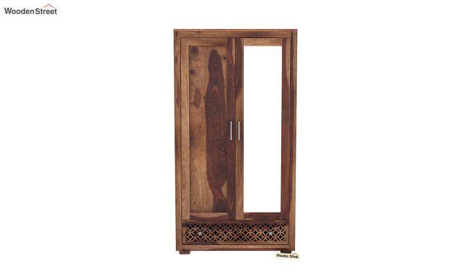 Cambrey 2 Door Wardrobe with Mirror (Teak Finish)-3