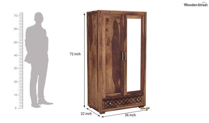 Cambrey 2 Door Wardrobe with Mirror (Teak Finish)-6