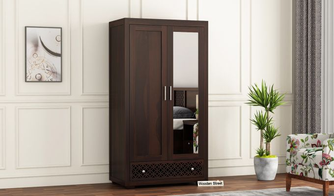 Cambrey 2 Door Wardrobe with Mirror (Walnut Finish)-1