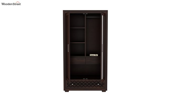 Cambrey 2 Door Wardrobe with Mirror (Walnut Finish)-5